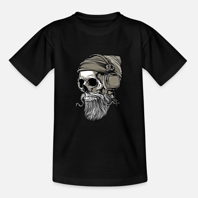 Skull T-Shirts - Beard hipster skull with headphones - Kids' T-Shirt black