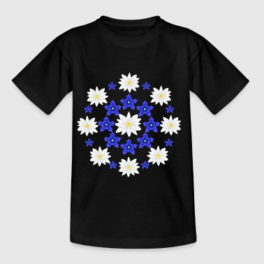 Flowers white and blue - Børne-T-shirt