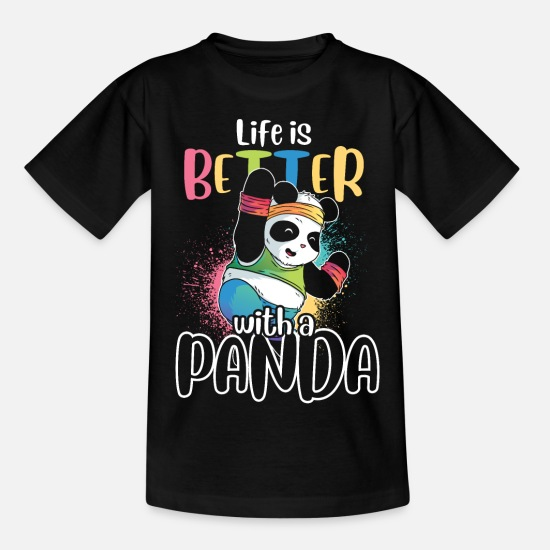 Animal Rights Activists T-Shirts - Panda animal welfare - Kids' T-Shirt black