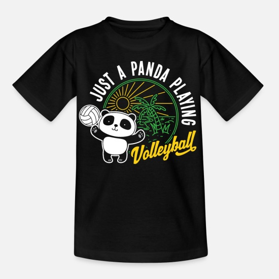 Animal Rights Activists T-Shirts - Panda bear volleyball sport game gift - Kids' T-Shirt black