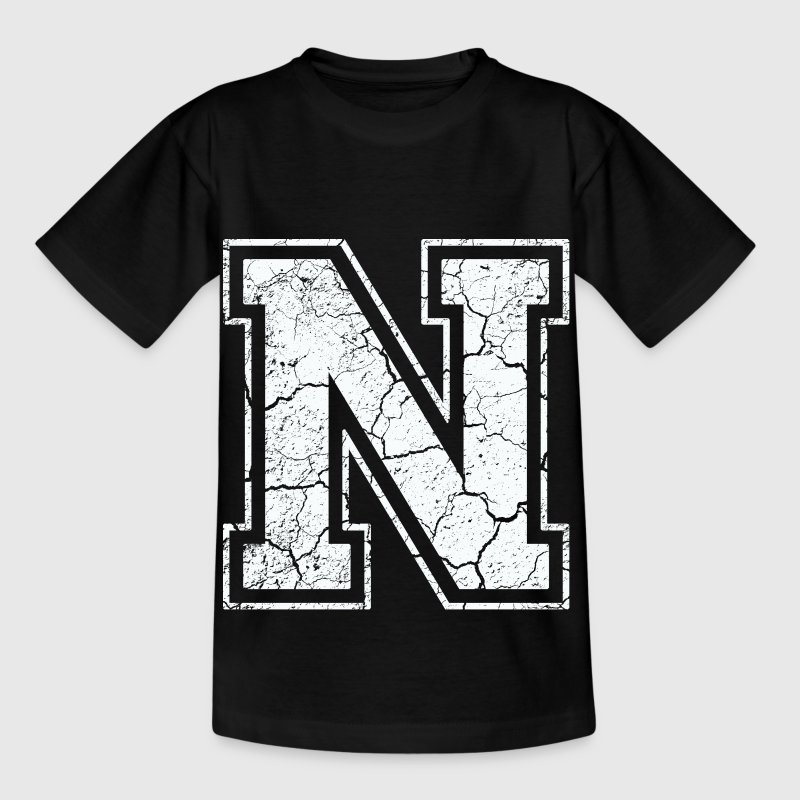 Letter N in white in the used look - Kids' T-Shirt