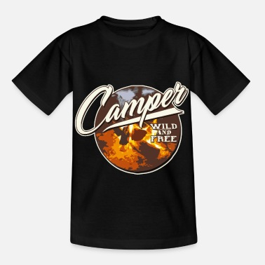 camper wild and freecamp camping wild climb fire - Kids' T-Shirt