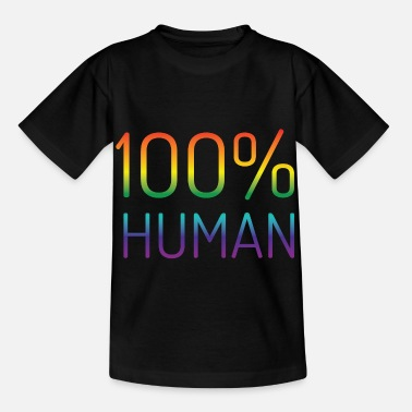 100% Human in rainbow colors - Kids' T-Shirt