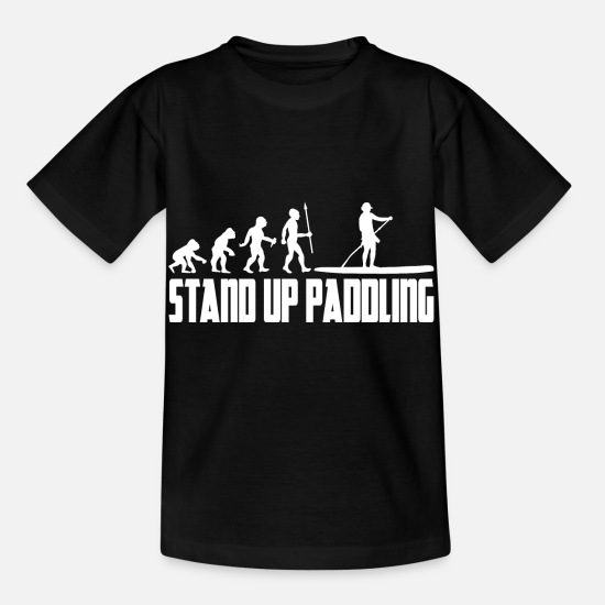 Boarding T-Shirts - Stand Up Paddling Evolution Paddle Stand Up Paddle SUP - Kids' T-Shirt black