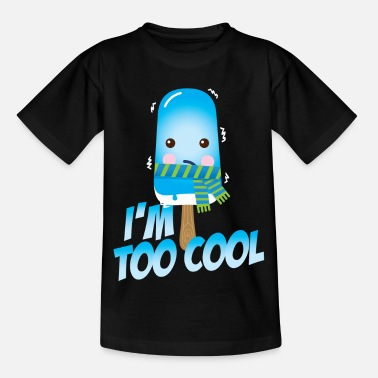 Funny too cool slogan cute vintage ice cream character with hat and scarf for hot sunny summer or freezing cold fall winter snow weather t-shirts for geek kids  - Kids' T-Shirt