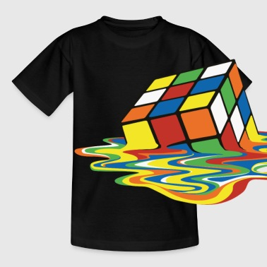 Rubik's Cube Melted Colourful Puddle - Kinderen T-shirt