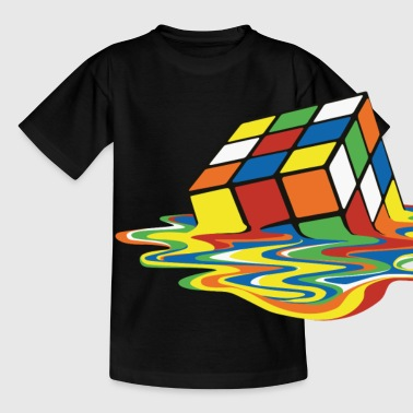 Rubik's Cube Melted Colourful Puddle - Børne-T-shirt