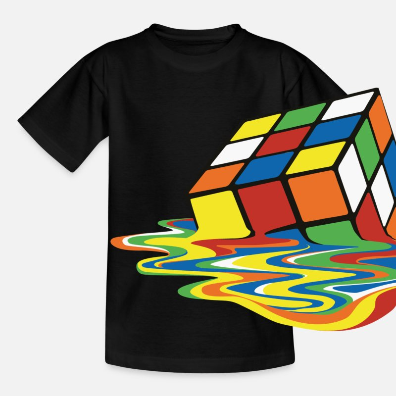 Coole T-Shirts - Melting Rubiks Cube - Kinder T-Shirt Schwarz