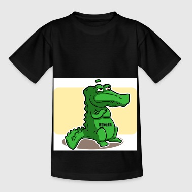 Green alligator with shears hungry - Kids' T-Shirt