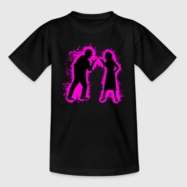 Silhouette pair of pink and black outline - Kids' T-Shirt