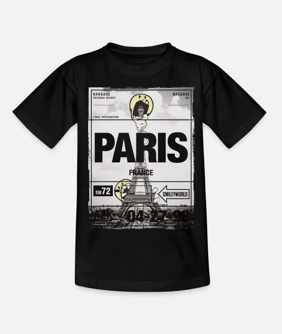 Monument T-shirts - Smiley World 'France Paris Tour Eiffel' - T-shirt Enfant noir