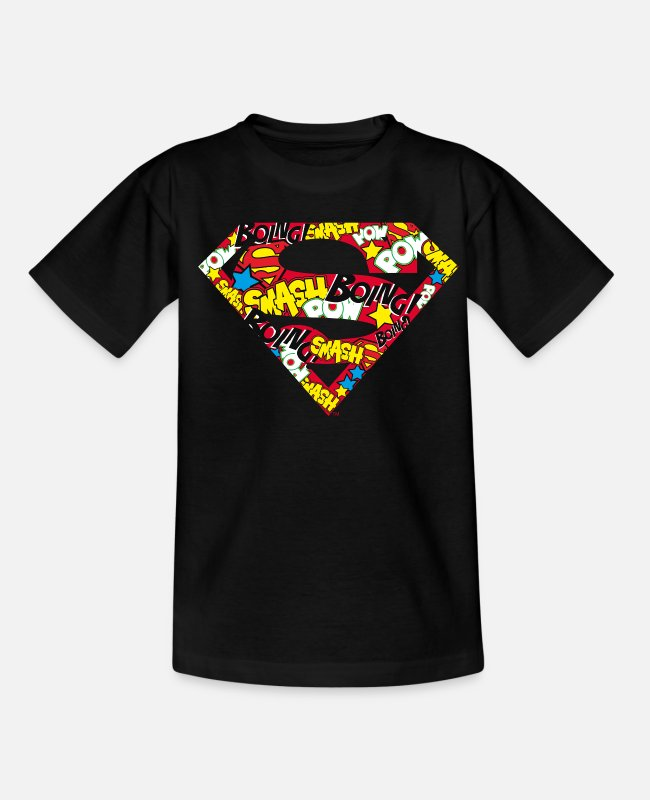 Onomatopoetic T-shirts - DC Comics Superman Classic Logo Soundwords - Kinderen T-shirt zwart