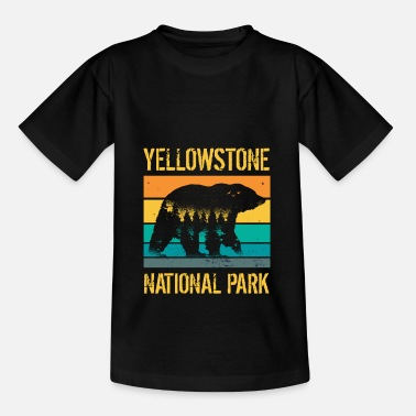 Berg Jahrgangsbär des Yellowstone-Nationalparks - Kinder T-Shirt