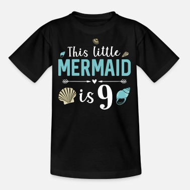 Geburtstag 9 Monate This Little Mermaid Is 9 - Kinder T-Shirt