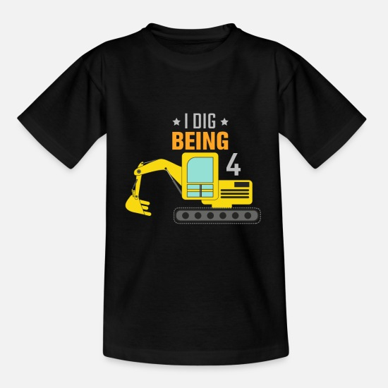 Kindergarten T-Shirts - Excavator 4th birthday - Kids' T-Shirt black
