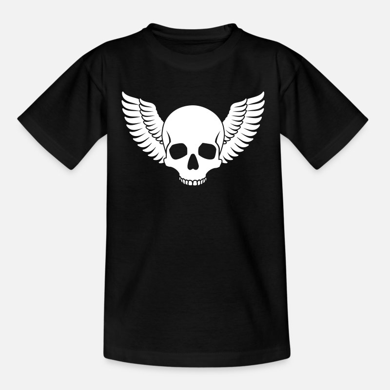 Angel T-Shirts - Skull Wings - Kids' T-Shirt black