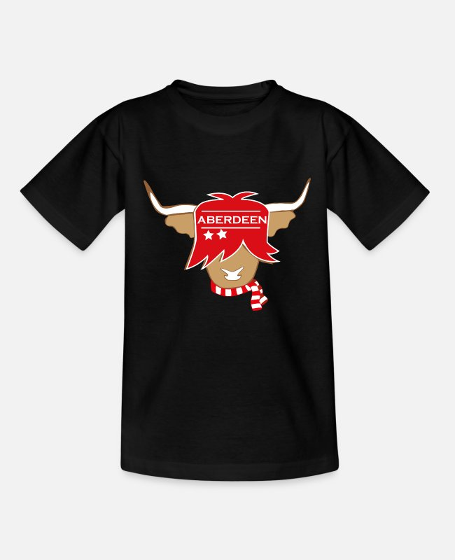 Aberdeen Souvenir T-Shirts - Scottish highland cow Aberdeen supporter - Kids' T-Shirt black
