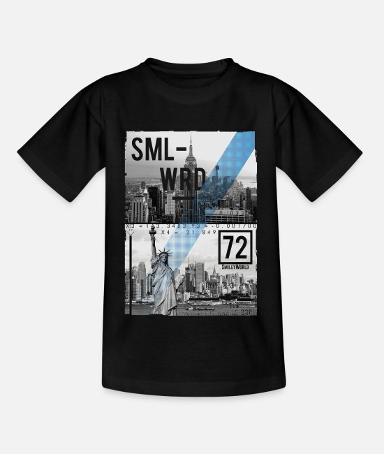 Hipster T-shirts - Smileyworld 'New York Statue of Liberty' - Kinderen T-shirt zwart