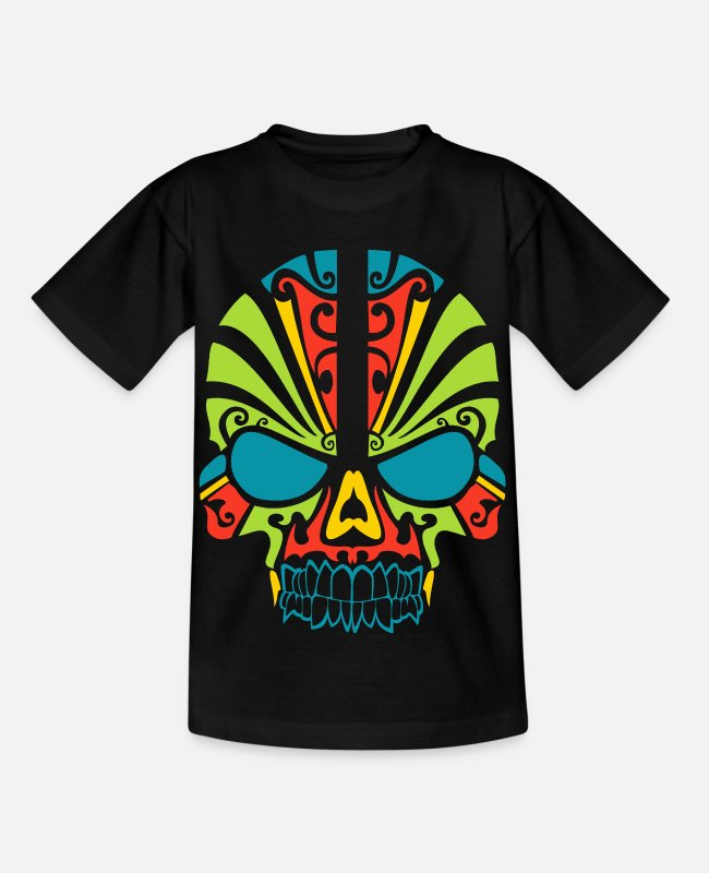 Full Moon T-Shirts - Skull - colored skull - Kids' T-Shirt black