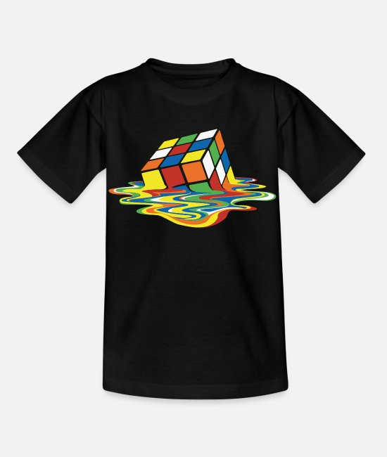 Big T-shirts - Rubik's Cube Melted Colourful Puddle - T-shirt barn svart