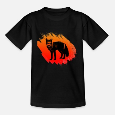 Orange roter fuchs in schwarz in der Wildnis - Kinder T-Shirt