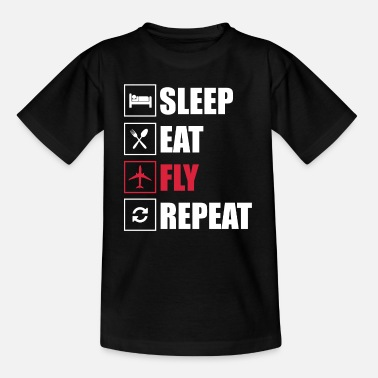 Fly Eat Sleep Fly Repeat - Kinder T-Shirt