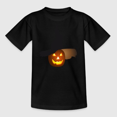 Halloween pumpkin glowing eyes and hat - Kids' T-Shirt
