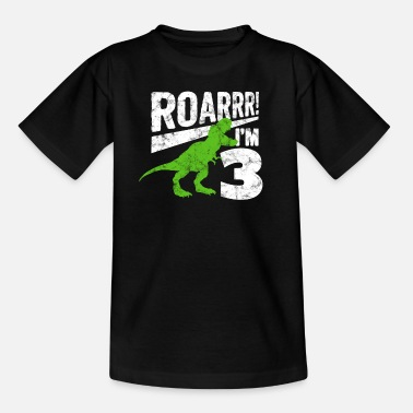 Aged ROARRR! I am 3 years Dino shirt for my birthday - Kids' T-Shirt