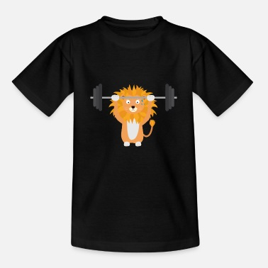 Weight Lifting Animals Weight lifting lion - Kids' T-Shirt