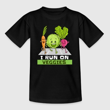 I Run On Veggies Veganer Vegetarier Läufer Laufen - Kinder T-Shirt