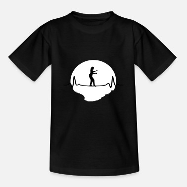 Mountain Climbing Slacklining Heartbeat - Woman - Kids' T-Shirt