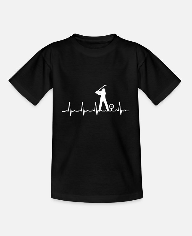 Christmas T-Shirts - Golfers heartbeat - Kids' T-Shirt black