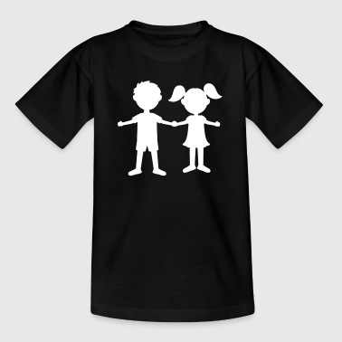 Twin Sisters Children young girl siblings kindergarten child - Kids' T-Shirt