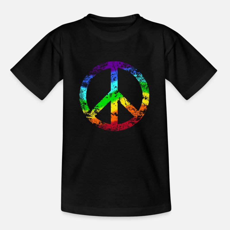 Rasta T-Shirts - Peace sign Pace Peace Rainbow Grunge colorful - Kids' T-Shirt black