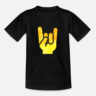 Funky Rock Hand Gesture Cheesy Rock 'N' Roll Salute Cool - Kids' T-Shirt