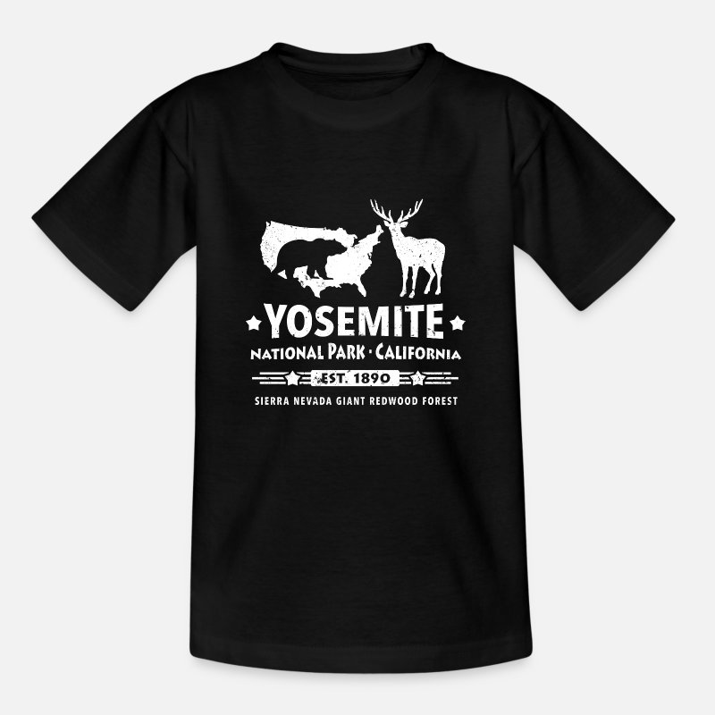 Yosemite T-Shirts - Yosemite National Park California Bear Redwood - Kids' T-Shirt black