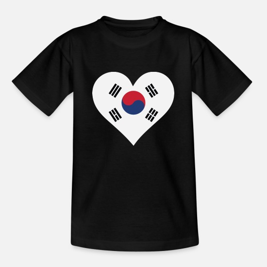 South Korea T-Shirts - I Love South Korea - Kids' T-Shirt black