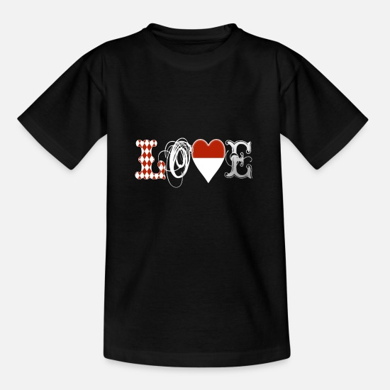 Love With Heart T-Shirts - Love Monaco White Edition - Kinder T-Shirt Schwarz