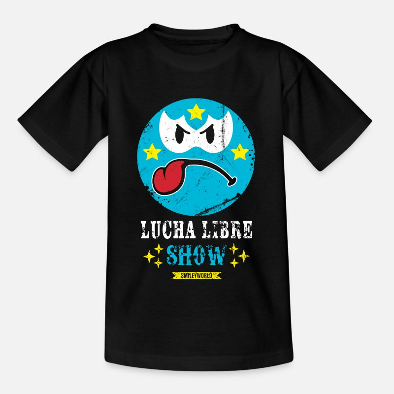 Officialbrands T-Shirts - SmileyWorld Blue Luchador - Kids' T-Shirt black