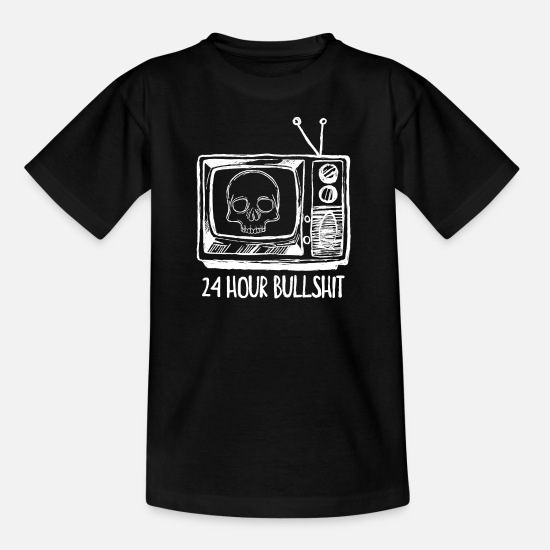 Tv T-Shirts - 24 hour bullshit TV - Kids' T-Shirt black