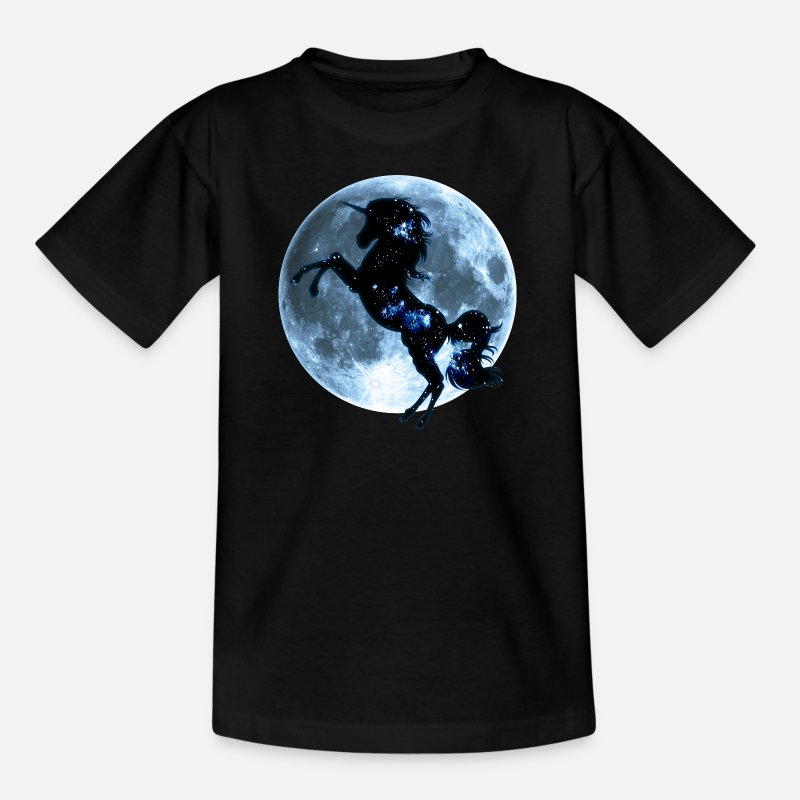 Funny T-Shirts - Unicorn, fullmoon, moon, fantasy, magic, space - Kids' T-Shirt black