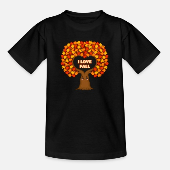 Ahorn T-Shirts - Bunter Ahorn Baum im Herbst - Indian Summer - Kinder T-Shirt Schwarz