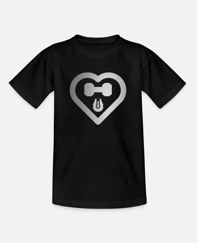 Lifter T-Shirts - Love Fitness and Science Fiction in Silver Gym - Kinder T-Shirt Schwarz