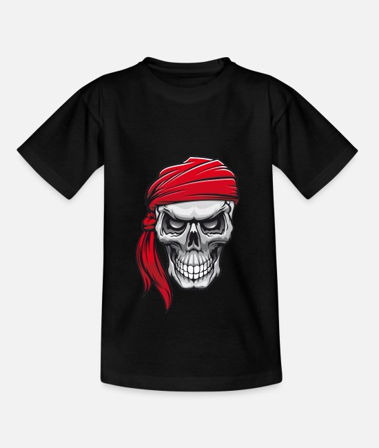 Pirate Skull T-Shirts - Pirate Skull Skull in Pirate Bandana - Kids' T-Shirt black