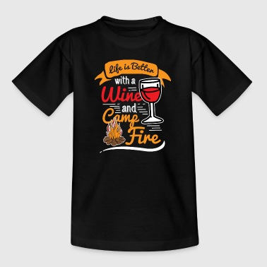 Camping Camp Life Wine Campfire Outdoor Camp - Kids' T-Shirt