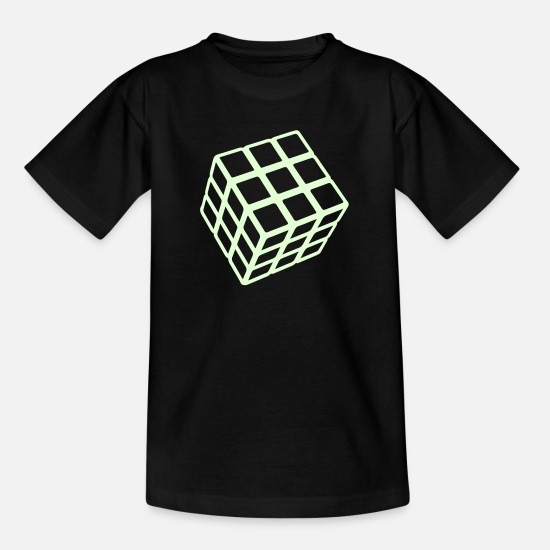 Dark T-shirts - Rubik's Cube Glow In The Dark - Kinderen T-shirt zwart