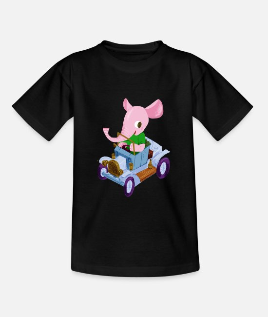 Djur T-shirts - Elephant in a vintage car - T-shirt barn svart