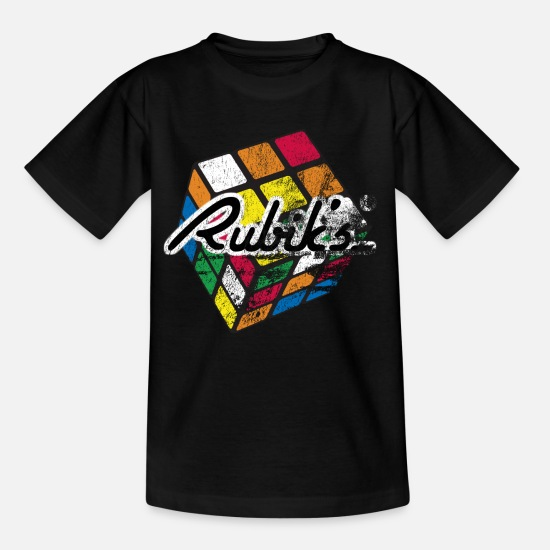 Retro T-Shirts - Rubik's Cube Colourful Retro Magic Cube - Kids' T-Shirt black