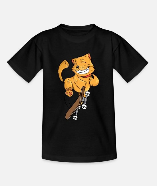 Stunt T-Shirts - Cat with skateboard - Kids' T-Shirt black