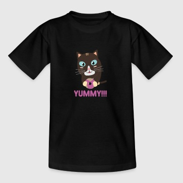 Cat with a delicious donut - Kids' T-Shirt